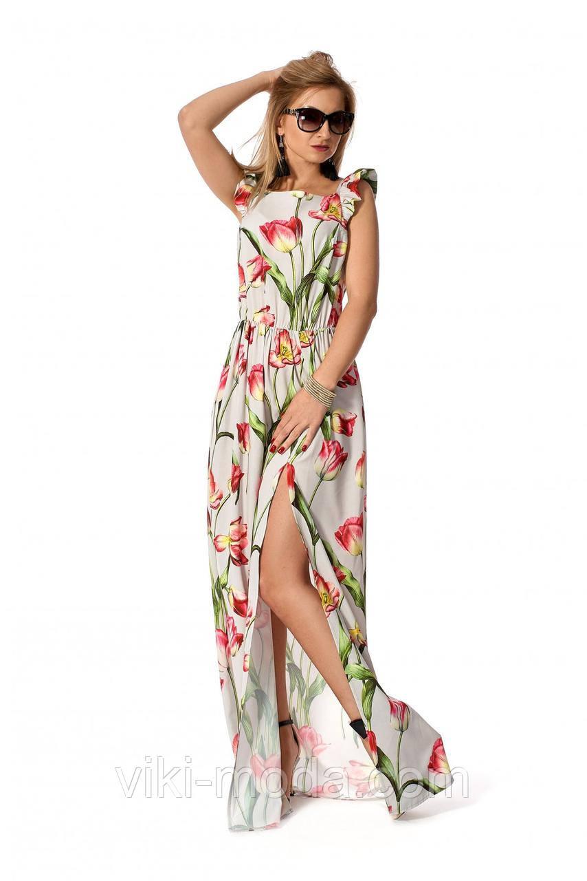 Летний сарафан свободного силуэта на бретелях, принт цветы, ткань софт