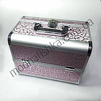 Чемодан металлический раздвижной, розовый серебряные разводы Ч03177