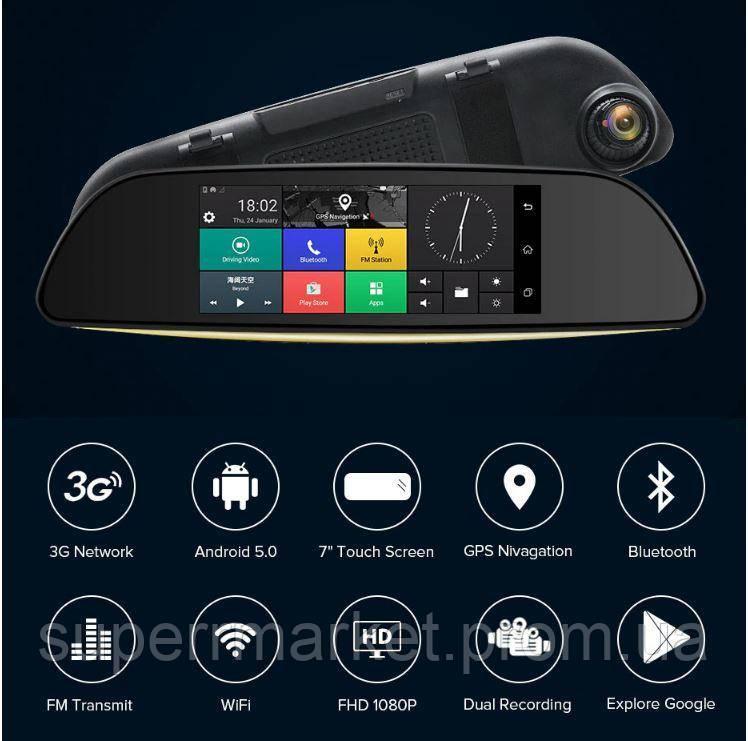 "DV570 Car DVR Android WiFi GPS 7.0"" 3G microSIM 1 8Gb 5.0Mp,  k35, d35  зеркало регистратор 2 камеры"