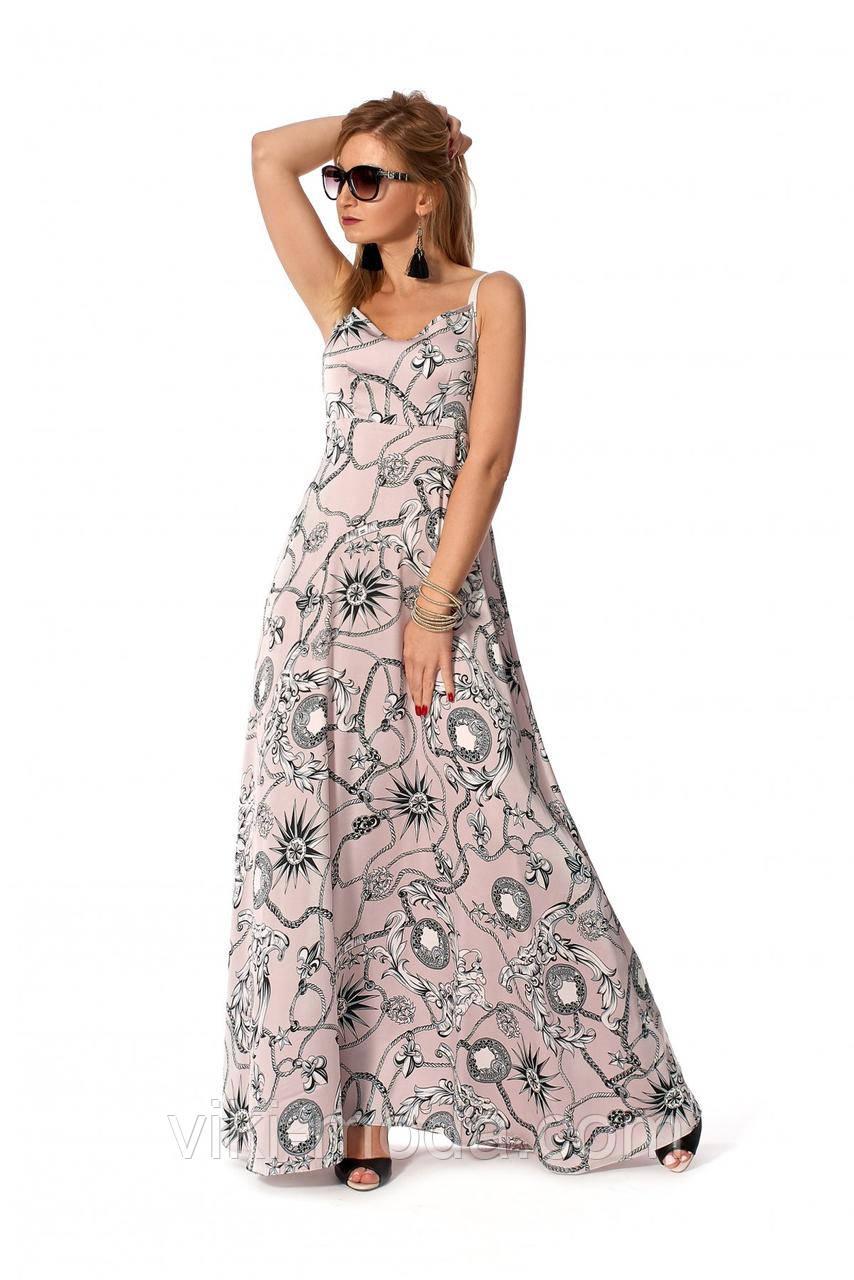 Стильный летний сарафан на бретелях А - образного силуэта, пудрового цвета, ткань Шелк Армани