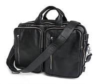 """Кожаная сумка-рюкзак трансформер для ноутбука 13"""" 13.3"""" 14""""  два отделения черная"""