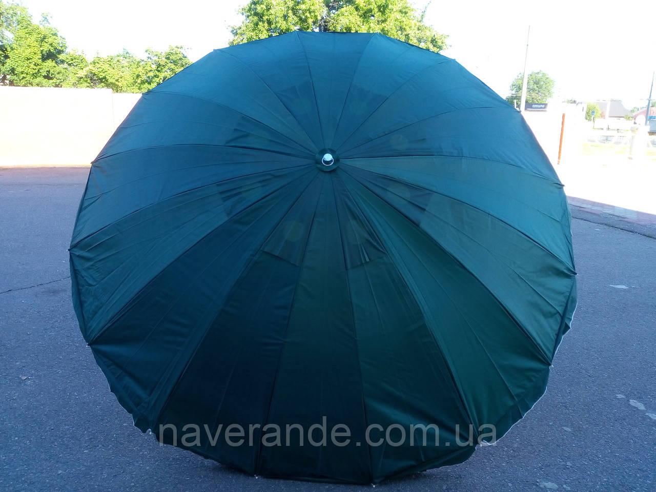 Круглый пляжный зонт 16 спиц (однотонный D 3 м, с клапаном)