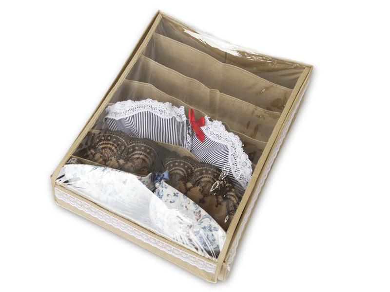 Органайзер коробочка для лифчиков Бежевый с крышкой