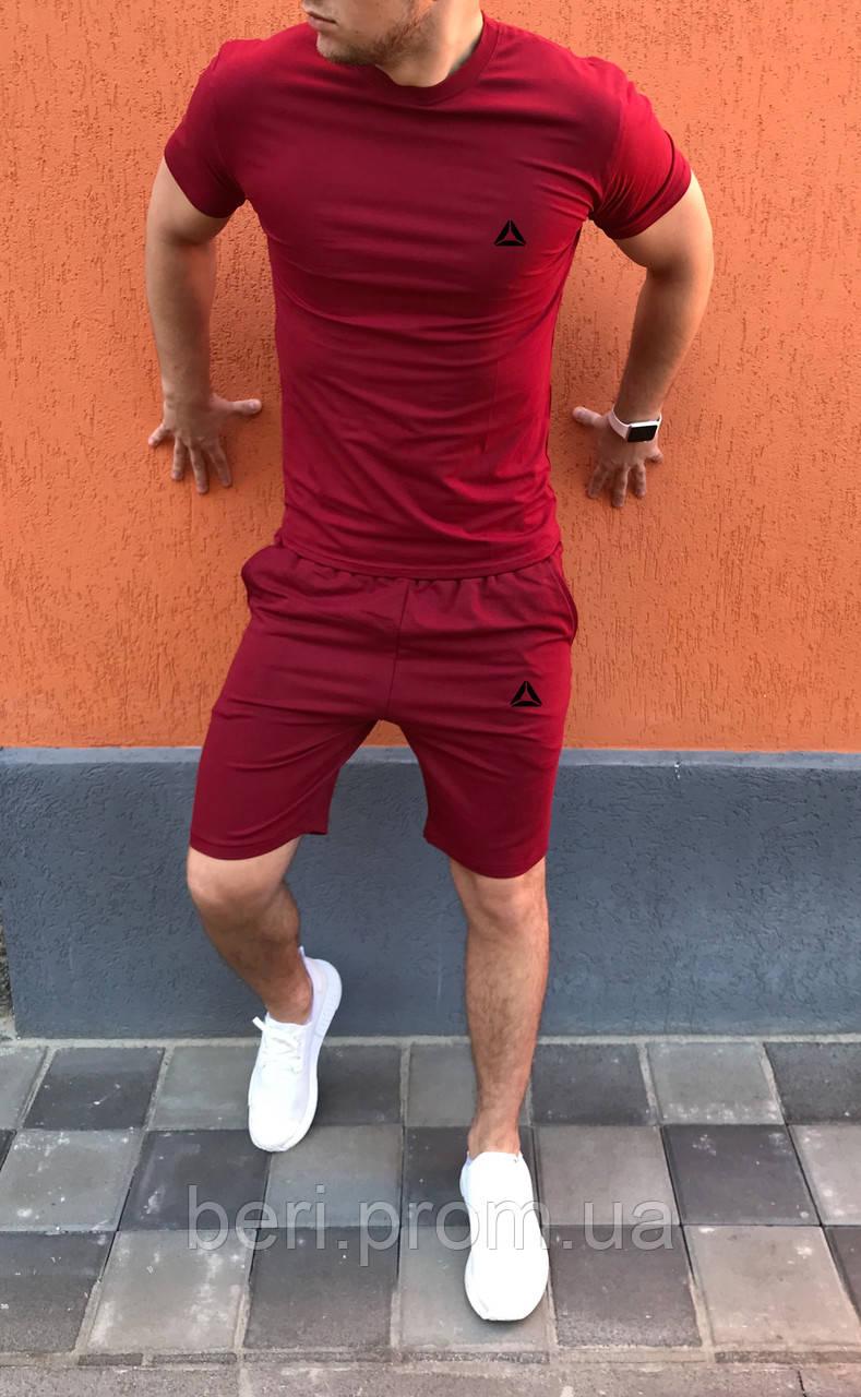 Мужской летний спортивный костюм, комплект шорты и футболка Reebok CrossFit | Рибок, Рібок | (Бордовый)