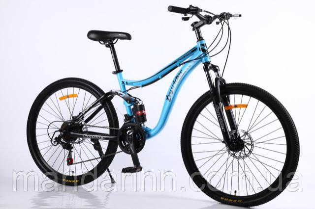 Спортивный велосипед Горный двухподвес TopRider-910 26 дюймов. Дисковые тормоза. Цвет Аква.