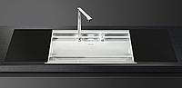 Мойка из нержавейки матовая + глянцевое черное стекло Smeg VQMX79N2
