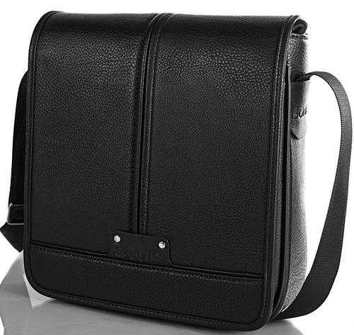 Мужская надежная сумка-почтальонка из качественного кожзама BONIS (БОНИС) SHIM8098-black черный