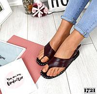 Женские кожаные босоножки цвет бордо Comfort, фото 1
