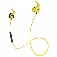➤Беспроводная гарнитура Bluedio TE Yellow вакуумная спортивная наушники с микрофоном Bluetooth 4.1