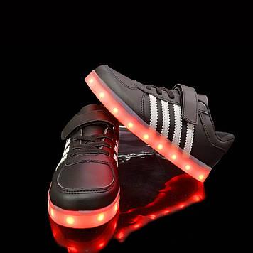 Кроссовки светящиеся детские Black W80