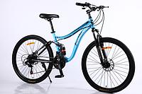 Спортивный велосипед Горный двухподвес TopRider-910 24 дюйма. Дисковые тормоза. Аква., фото 1