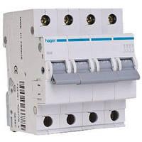Автоматический выключатель In=16А, 4п, В, 6 kA, 4м Hager (MB416A), фото 1
