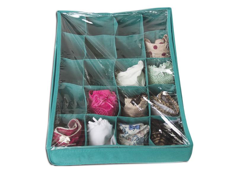 Органайзер коробочка для белья (трусиков, носочков) 20 ячеек Голубой с крышкой