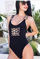 Женский закрытый купальник в черном цвете необычного дизайна с леопардовыми деталями