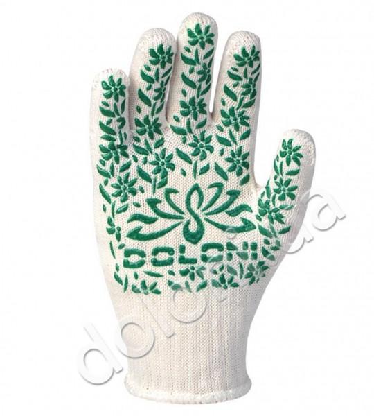 Перчатки защитные с ПВХ- рисунком из хлопка и полиэстера. DOLONI