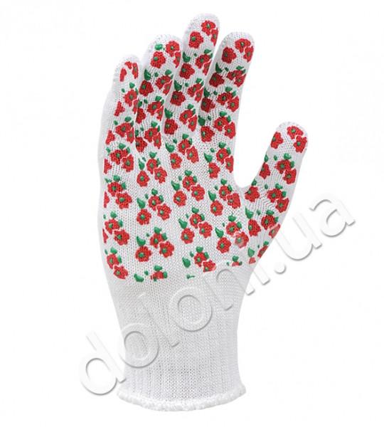 """Перчатки защитные """"Весенние цветы"""" с ПВХ- рисунком из хлопка и полиэстера. DOLONI"""