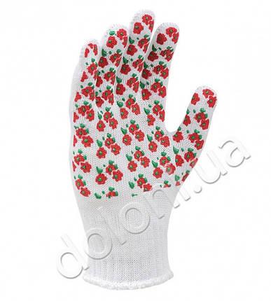 """Перчатки защитные """"Весенние цветы"""" с ПВХ- рисунком из хлопка и полиэстера. DOLONI, фото 2"""