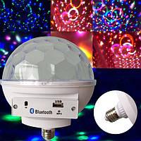 Светодиодный диско шар  в патрон с цоколем  LED Crystal Magic Ball light c bluetooth АКЦИЯ!