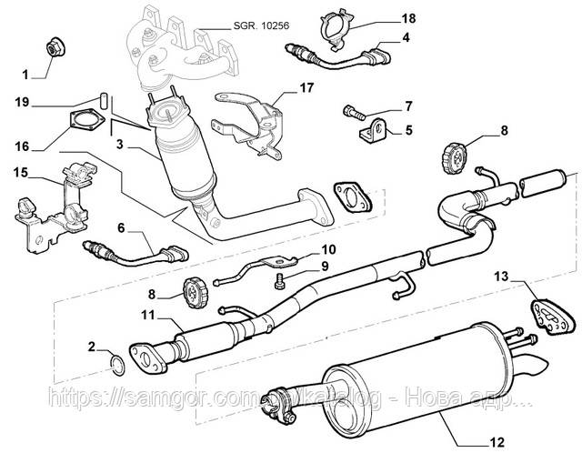 Глушитель Fiat Doblo 1.6 MPI (2001-2005) MTS 01.93410