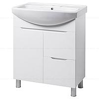 Тумба под раковину для ванной комнаты на ножках ВИСЛА Т4 (белая) с умывальником ИЗЕО 75
