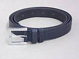 Женский кожаный узкий ремень синий, фото 3