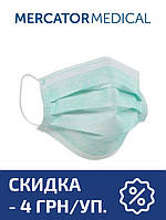Маска медицинская Mercator Medical Opero на резинках трехслойная (50 шт в уп.) зеленая
