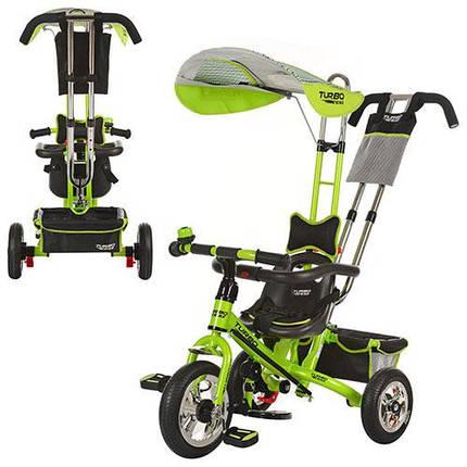 Детский трехколесный велосипед Turbo Trike М 5378-3 зеленый надувные колеса, фото 2
