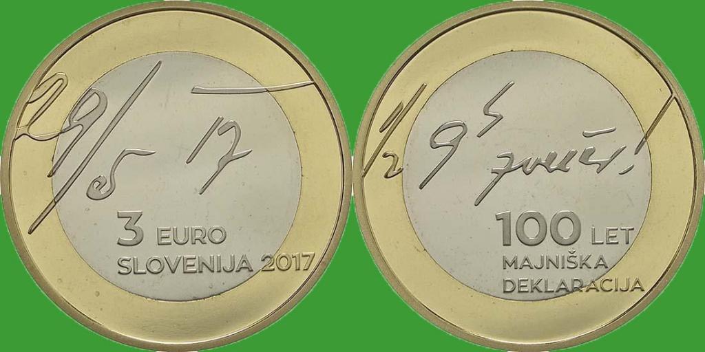 Словения 3 евро 2017 г. 100 лет майской декларации UNC