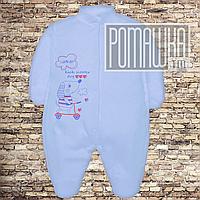 Хлопковый человечек 56 0-1 месяц легкий слип для новорожденных антицарапки наружные швы из КУЛИР 3045 Голубой