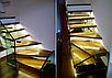 Лестница из массива дерева и металла со стеклом , фото 6