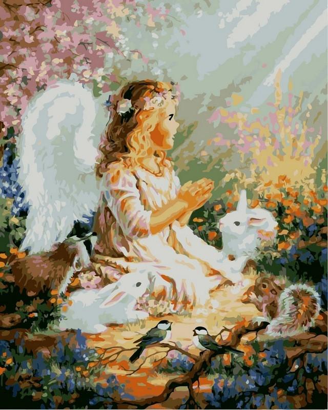 Набор-раскраска по номерам Ангелок и лесные зверушки худ Гелсингер Дона