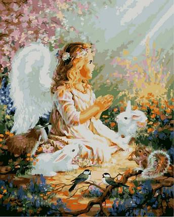 Набор-раскраска по номерам Ангелок и лесные зверушки худ Гелсингер Дона, фото 2