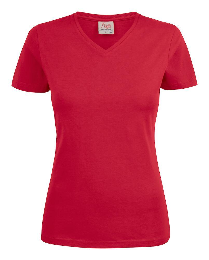 Женская футболка Heavy V Lady от ТМ Printer Essentials (цвет красный)