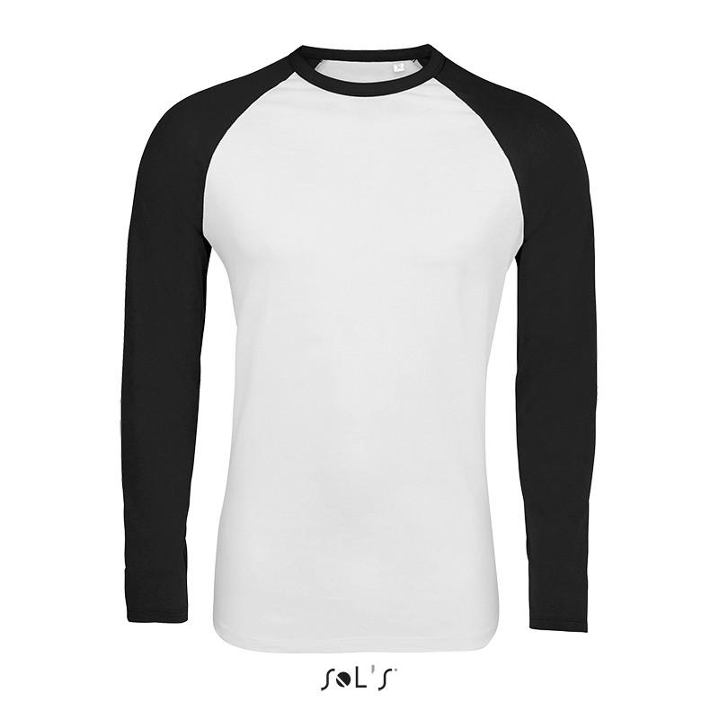 Мужская двухцветная футболка с длинным рукавом реглан SOL'S FUNKY LSL (цвет белый/черный)