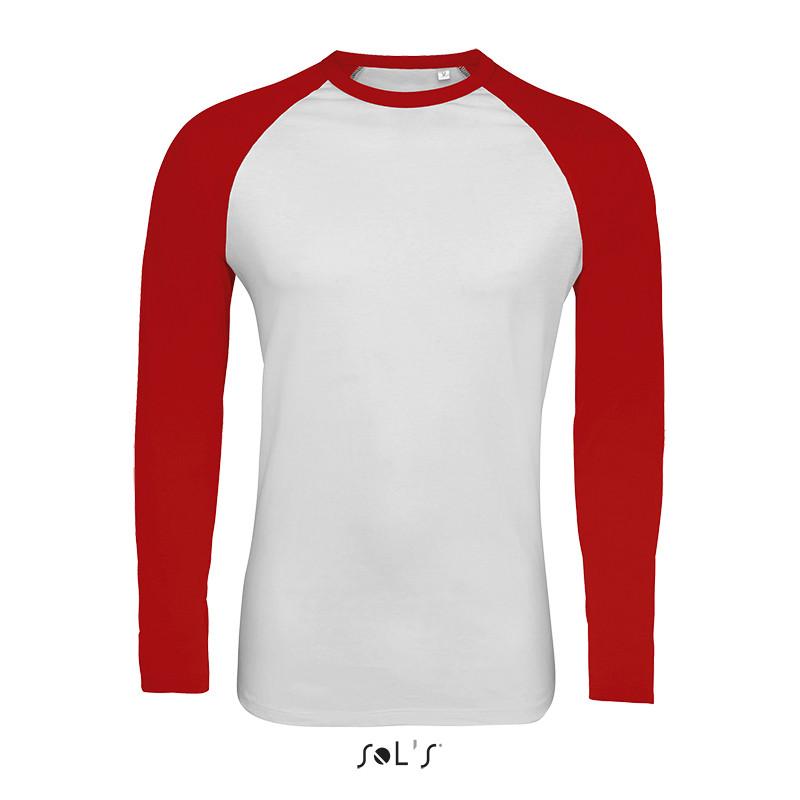 Мужская двухцветная футболка с длинным рукавом реглан SOL'S FUNKY LSL (цвет белый/красный)