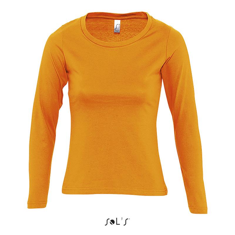 Футболка женская с круглым воротом и длинным рукавом SOL'S MAJESTIC (цвет оранжевый)