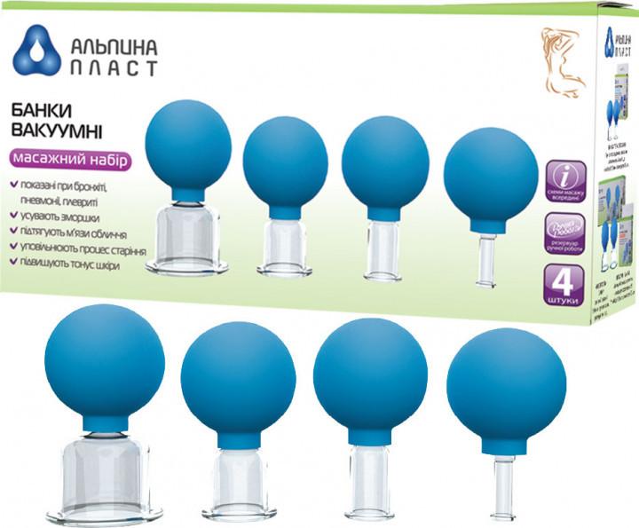 Вакуумные банки Альпина Пласт для косметического массажа 4 шт