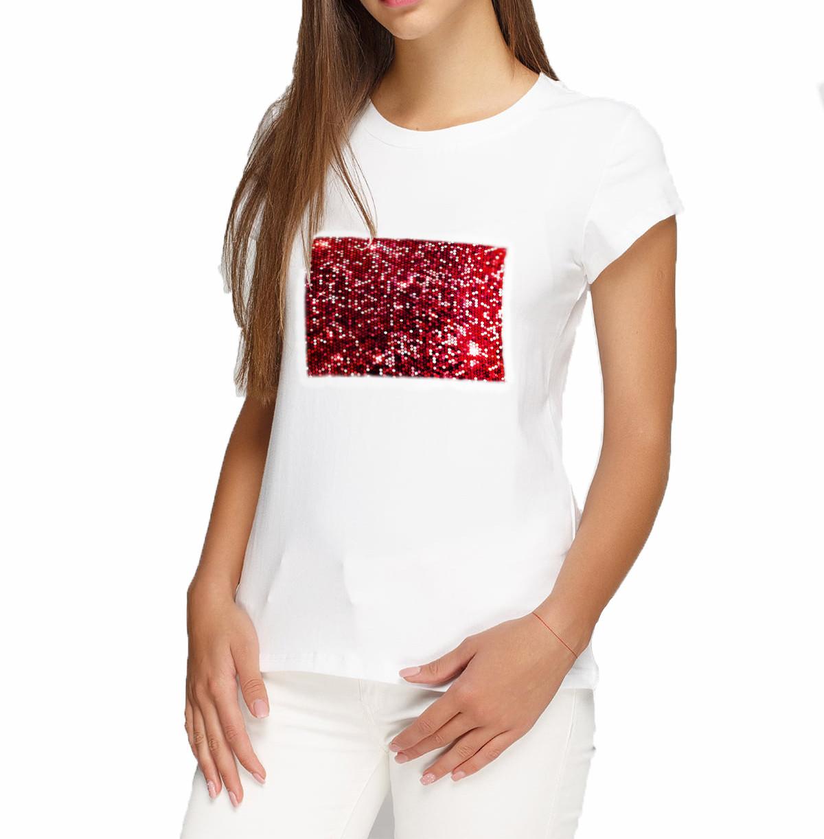 Женская футболка XL с пайетками цв. КРАСНЫЙ под сублимацию