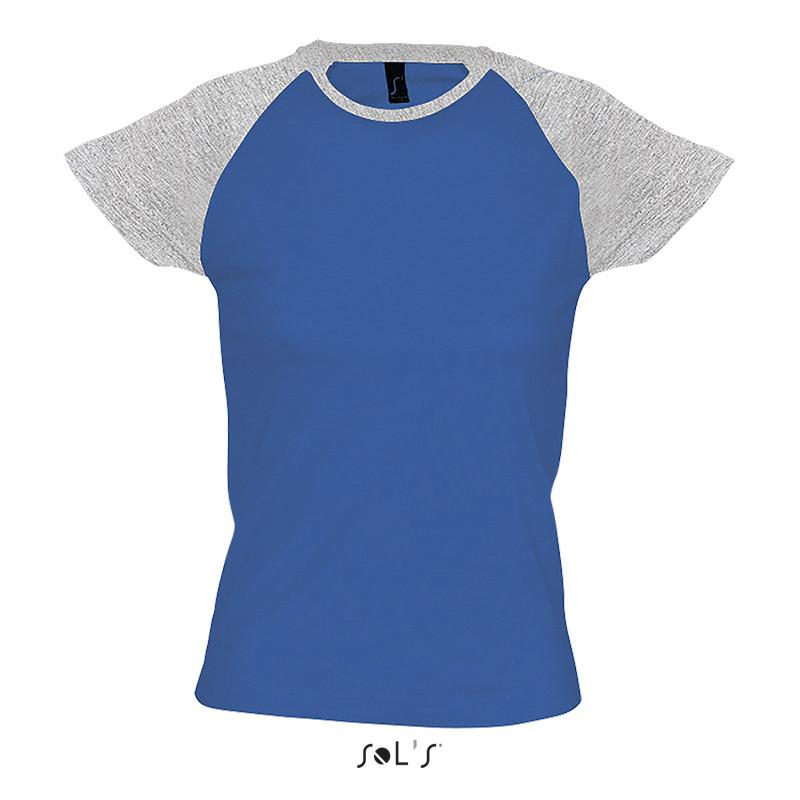 Футболка двухцветная с рукавом реглан SOL'S MILKY (цвет серый меланж/королевский синий)