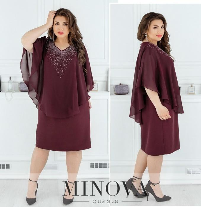 Платье батал от Фабрика моды с пришитой пелеринкой, украшенной стразами размеры 50,52,54