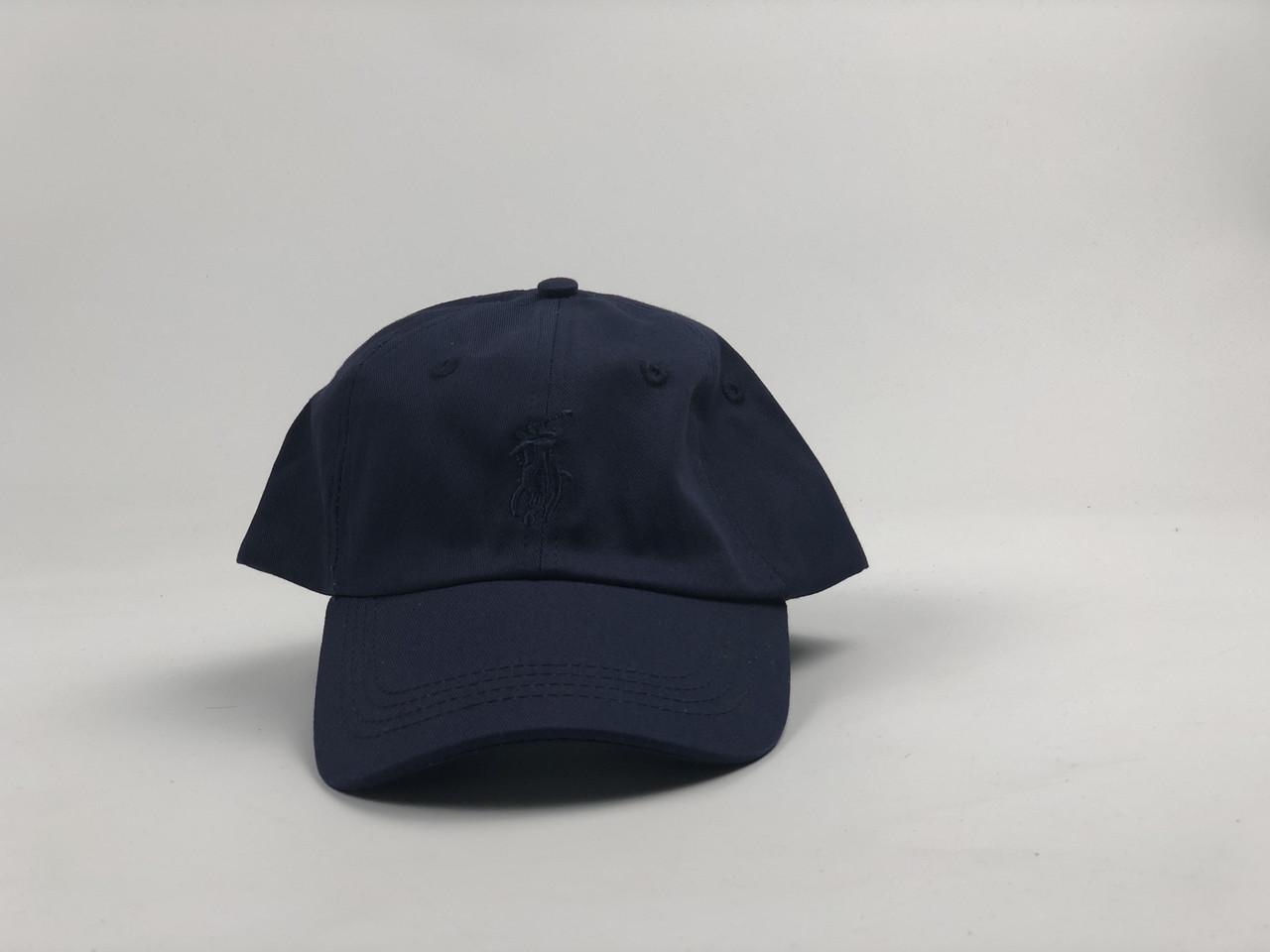 Кепка бейсболка Polo Ralph Lauren (темно-синяя с темно-синим лого) с кожаным ремешком