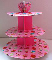 Этажерка для капкейков  Кексики  из 3-х ярусов