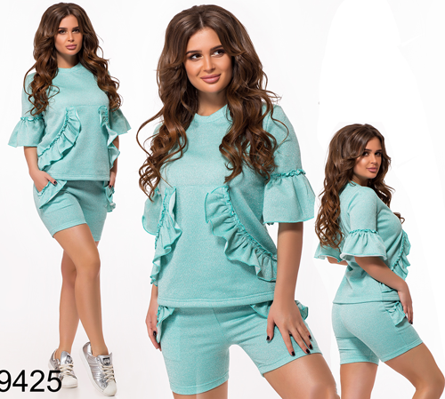 Женский летний костюм шорты + кофта с карманами (бирюза) 829425