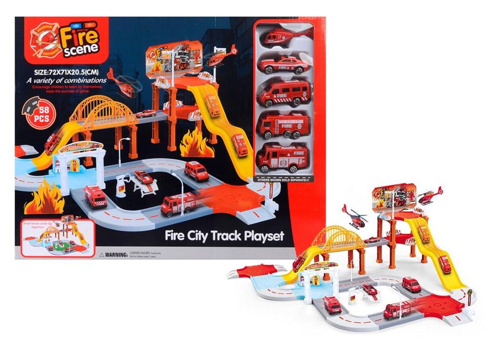 Детский Паркинг Fire Scere Пожарный Участок Fire City Track Playset
