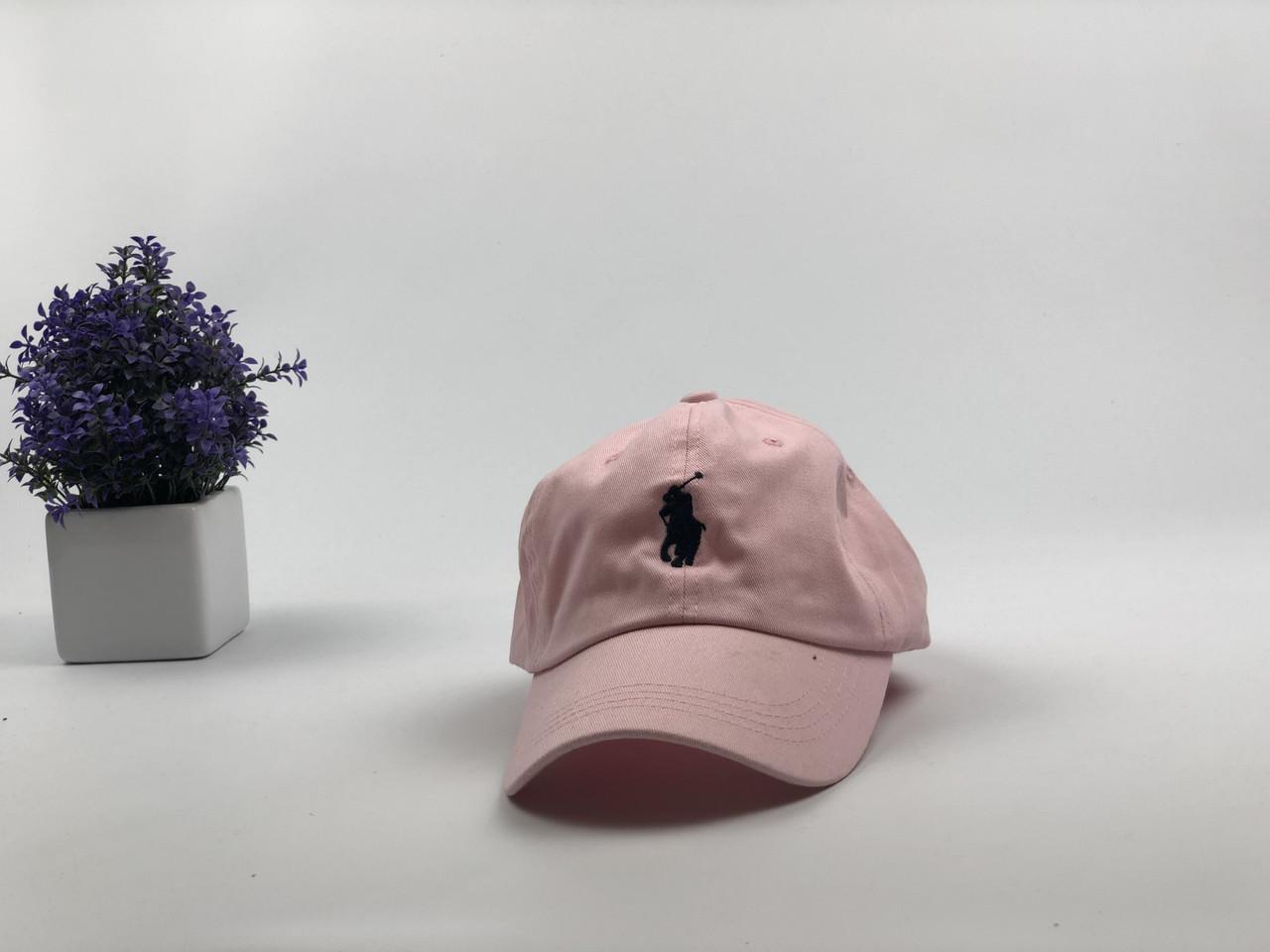 Кепка бейсболка Polo Ralph Lauren (розовая с черным лого) с кожаным ремешком