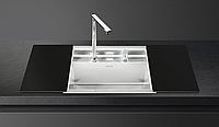 Мойка из нержавейки матовая + глянцевое черное стекло Smeg VQMX60N2