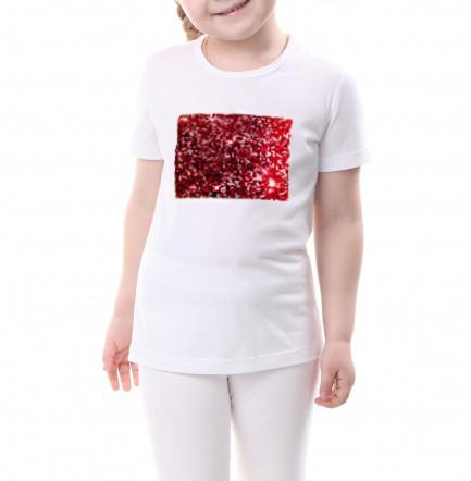 Детская футболка размер 134 с пайетками цв. КРАСНЫЙ под сублимацию