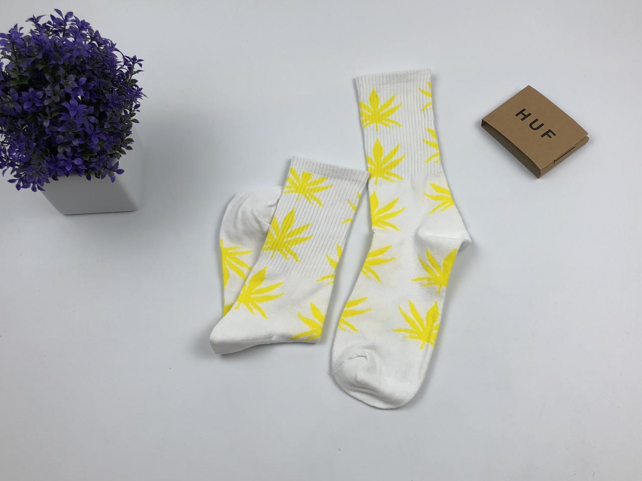 Носки HUF Plantilife - высокие - белые (желтый лист)