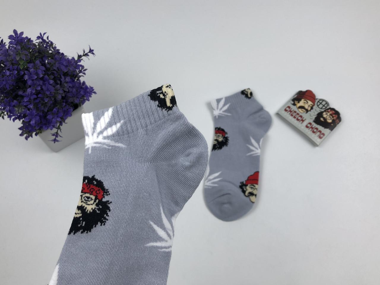 Носки HUF Cheech Chong низкие - серый белый лист