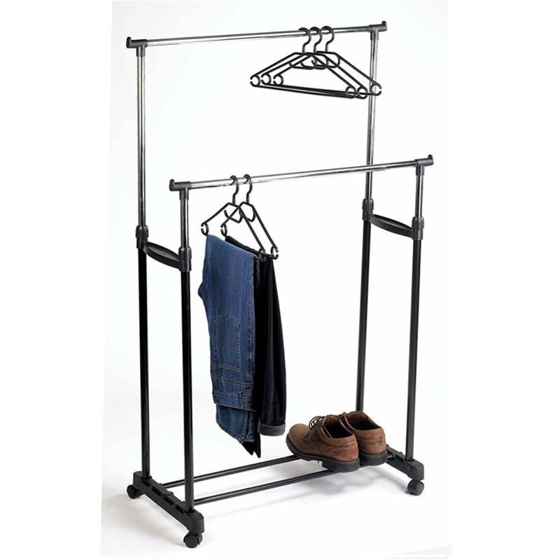 Телескопическая напольная вешалка-стойка для одежды Double-Pole